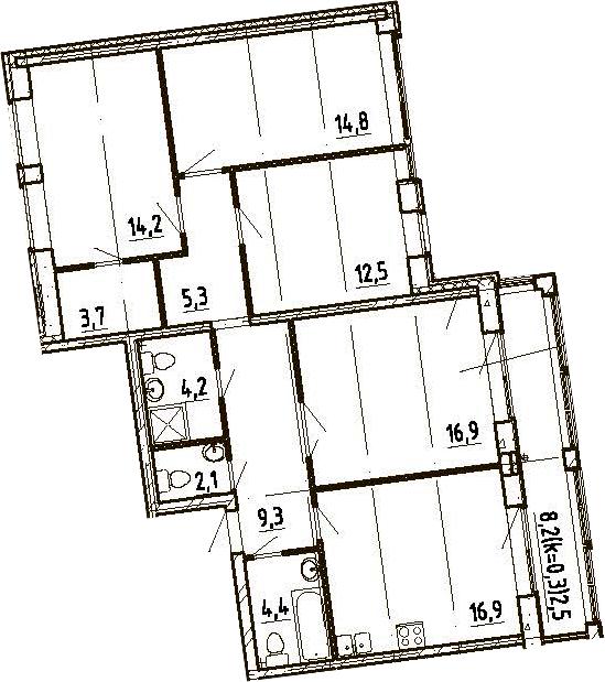 5Е-комнатная, 102.5 м²– 2
