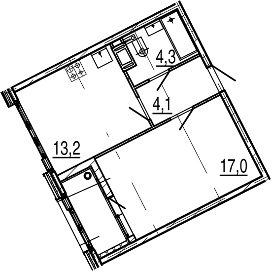 1-к.кв, 40.4 м², от 4 этажа