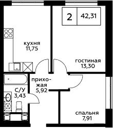 2-к.кв, 42.31 м², 16 этаж