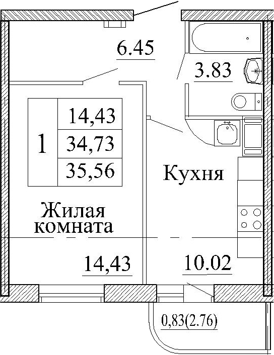 1-к.кв, 37.5 м²