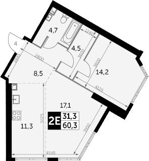 2-к.кв (евро), 60.3 м²