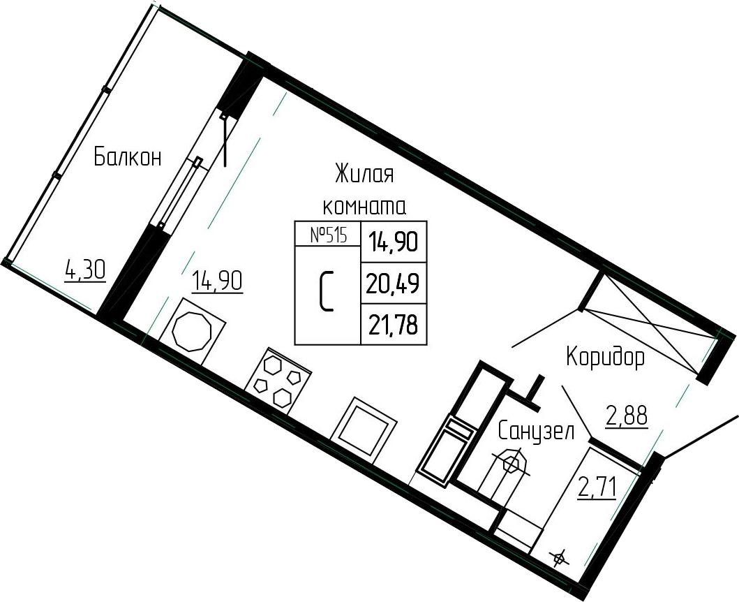 Студия, 21.78 м²