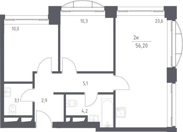 3Е-к.кв, 56.2 м², 1 этаж