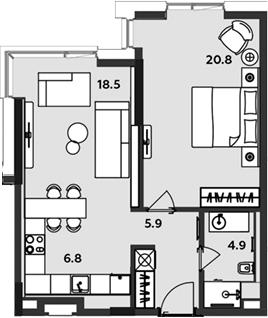2-к.кв (евро), 56.9 м²