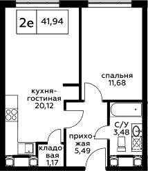 2Е-к.кв, 41.94 м², 24 этаж