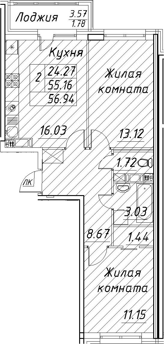 3-к.кв (евро), 58.72 м²