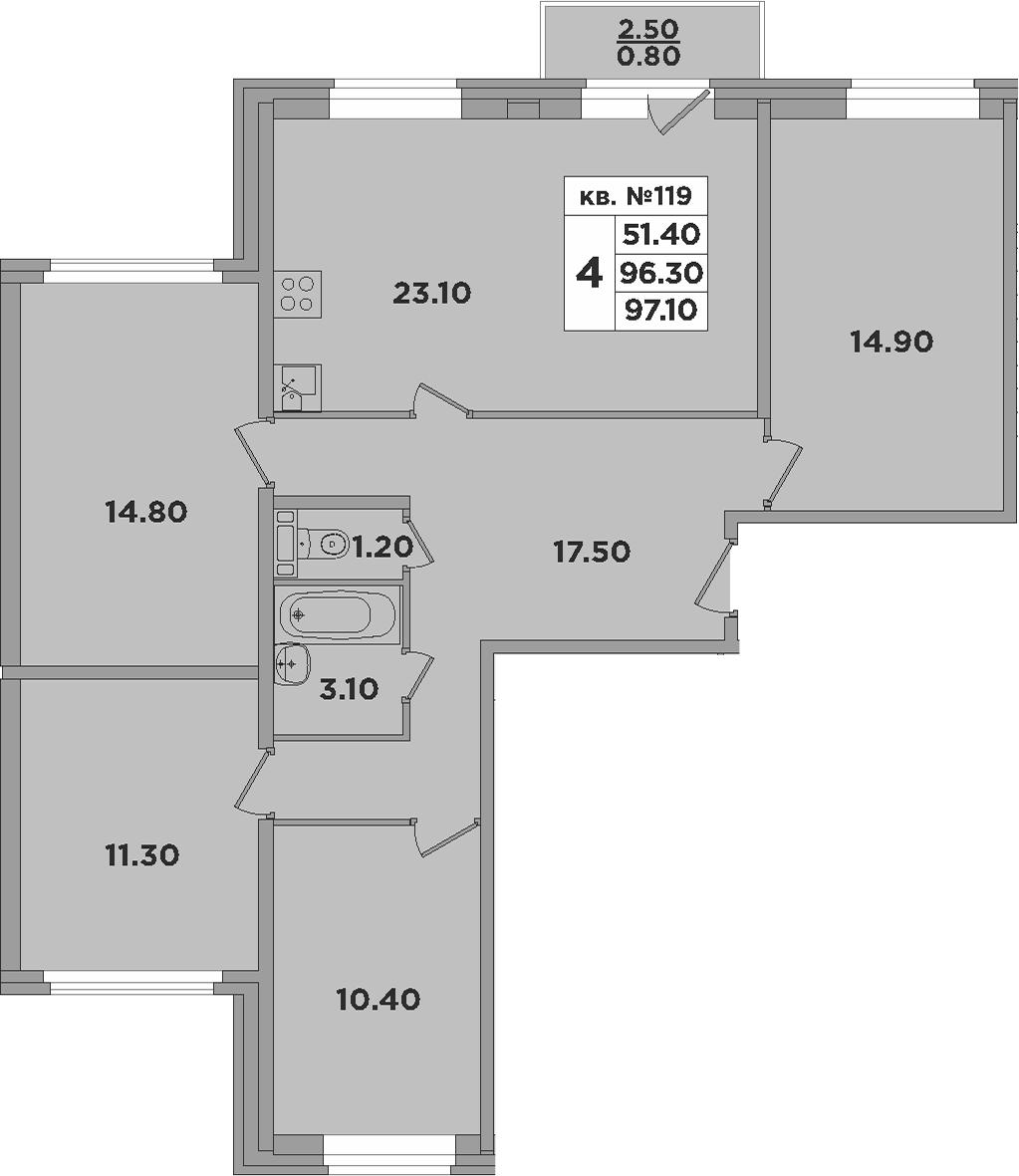 5-к.кв (евро), 98.8 м²