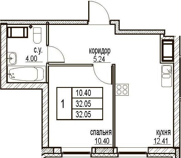 1-комнатная, 32.05 м²– 2