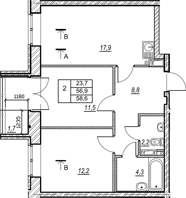 2-к.кв, 58.6 м², 4 этаж