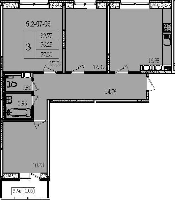 4Е-комнатная, 77.3 м²– 2
