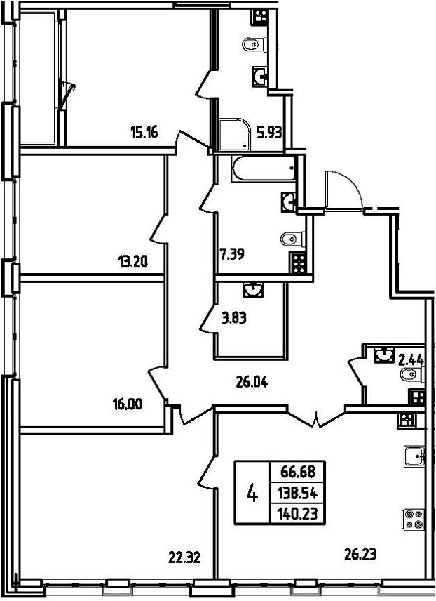 5Е-к.кв, 140.23 м²