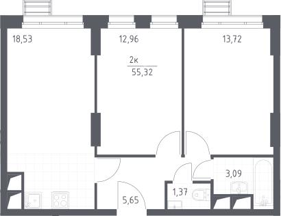 3Е-комнатная, 55.32 м²– 2