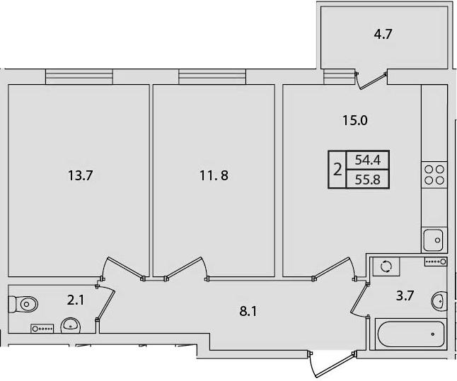 2-к.кв, 59.07 м²