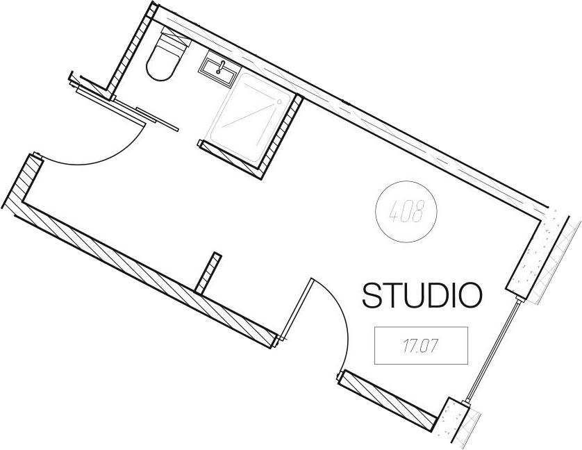 Студия, 17.07 м²
