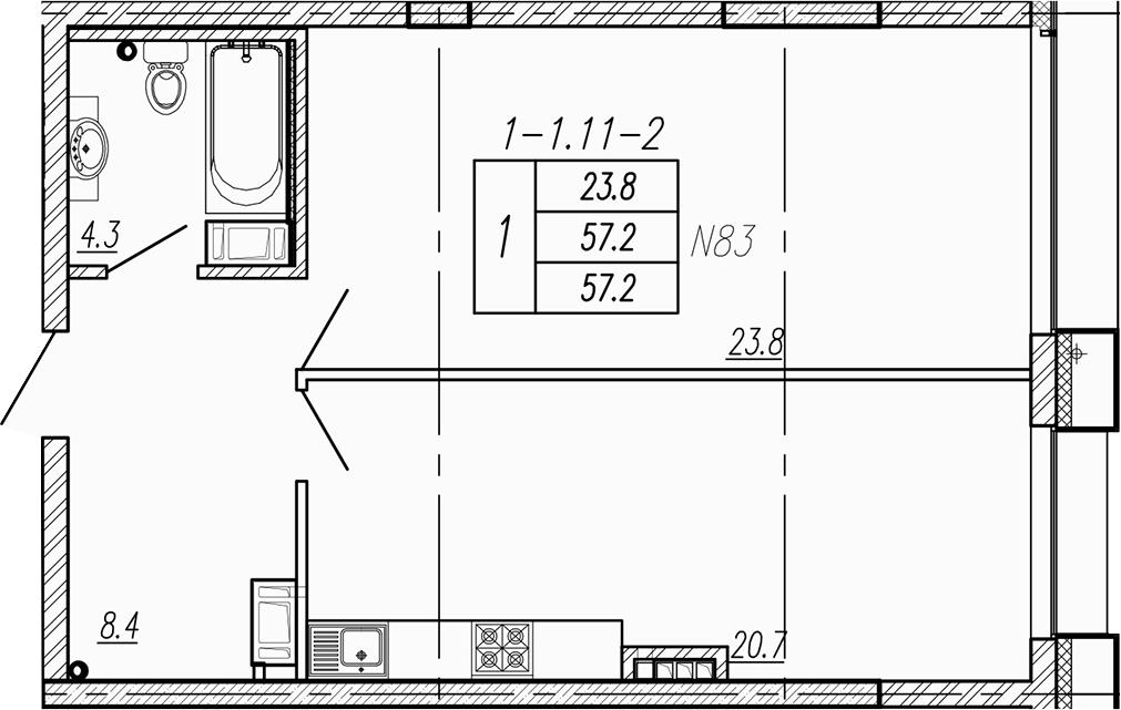 2-к.кв (евро), 57.2 м²