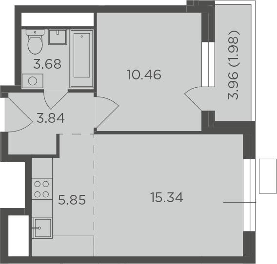 2Е-к.кв, 41.15 м², от 4 этажа