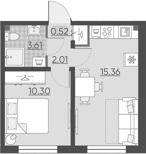 2Е-комнатная, 31.8 м²– 2