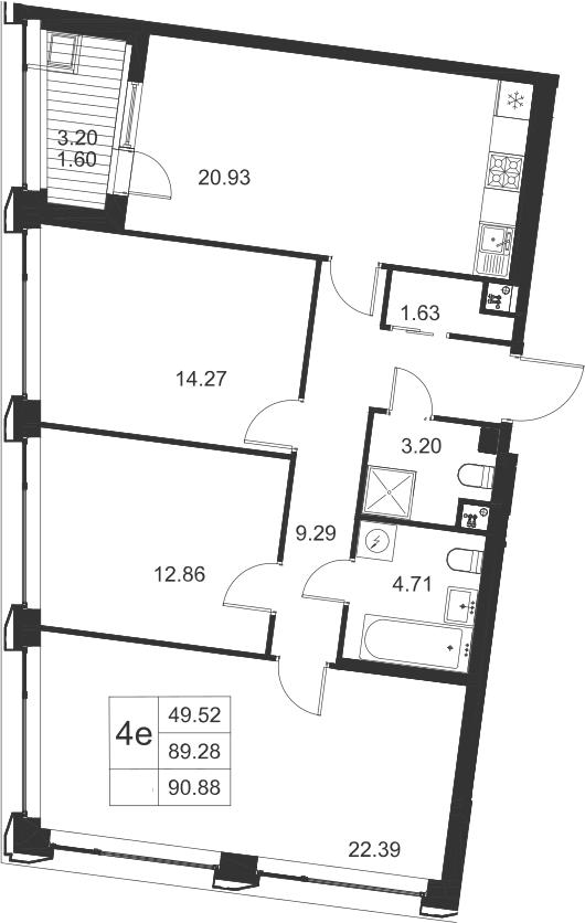 4-к.кв (евро), 92.48 м²