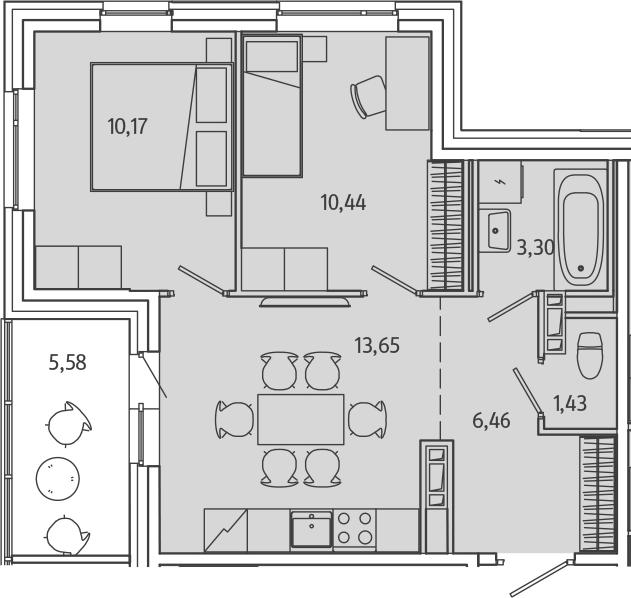 2-к.кв, 51.02 м²