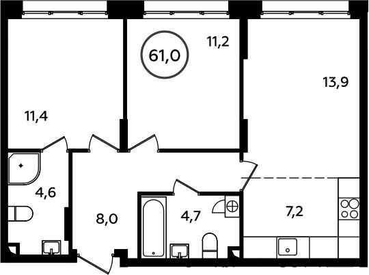 3Е-к.кв, 61 м²