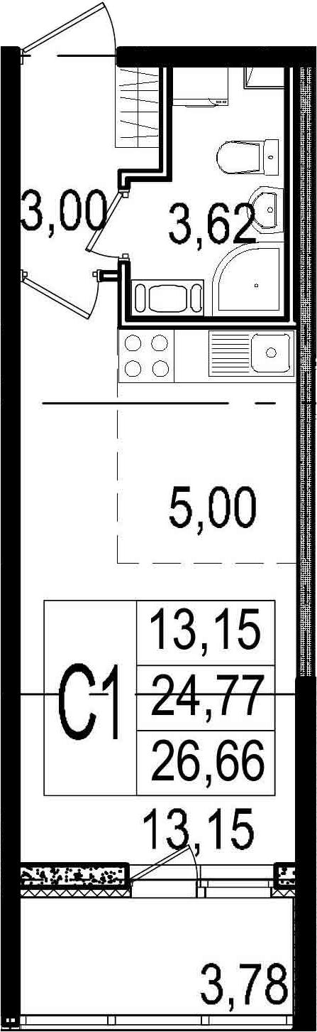 Студия, 24.77 м²– 2