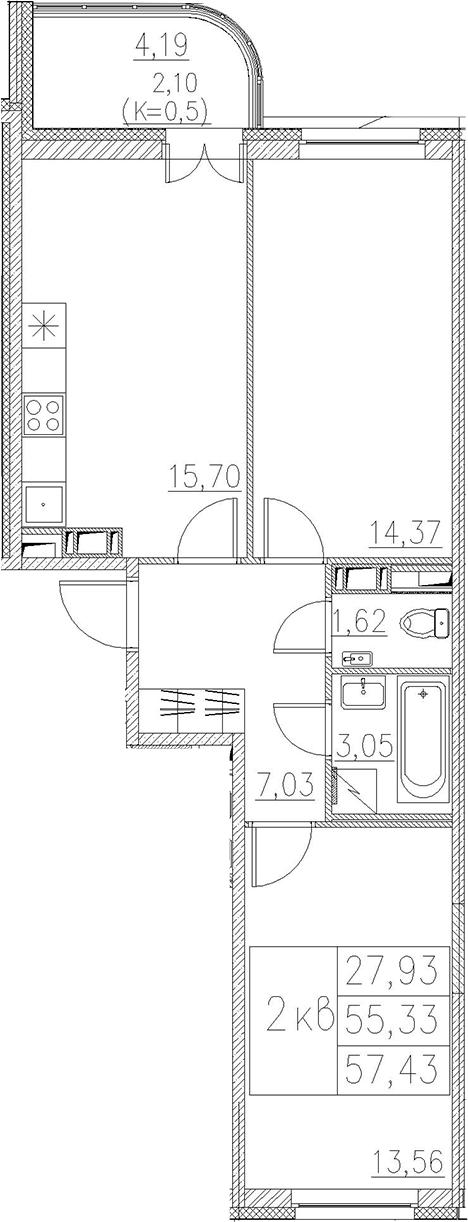3Е-комнатная, 57.43 м²– 2