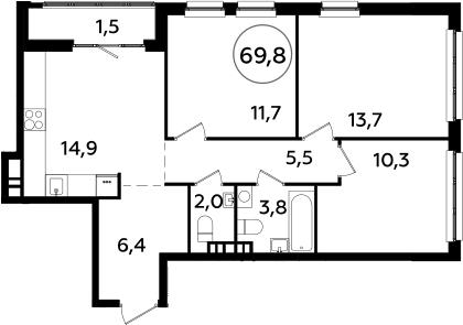 3-комнатная, 69.8 м²– 2