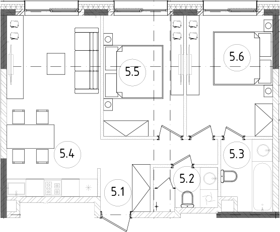 3Е-к.кв, 55.05 м²