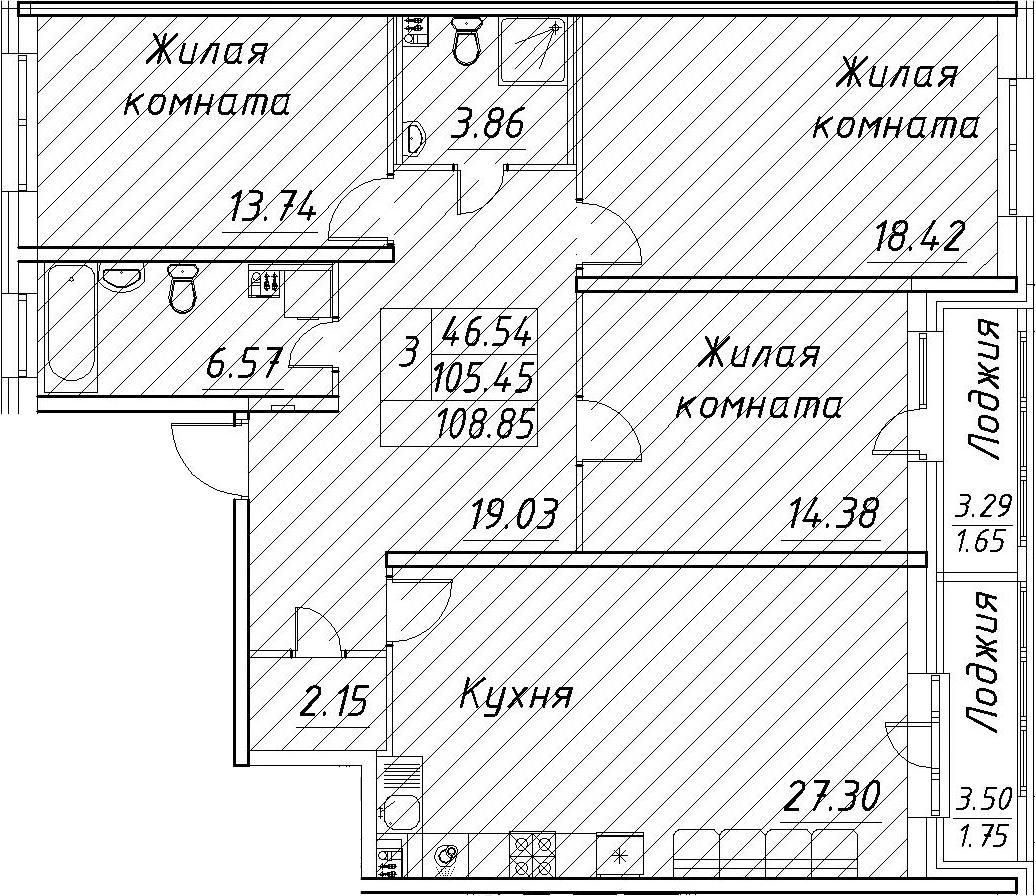 4Е-к.кв, 108.85 м², 2 этаж