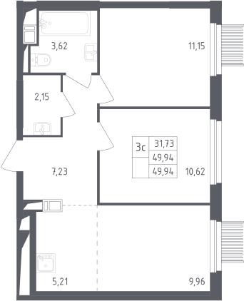 3Е-к.кв, 49.94 м²
