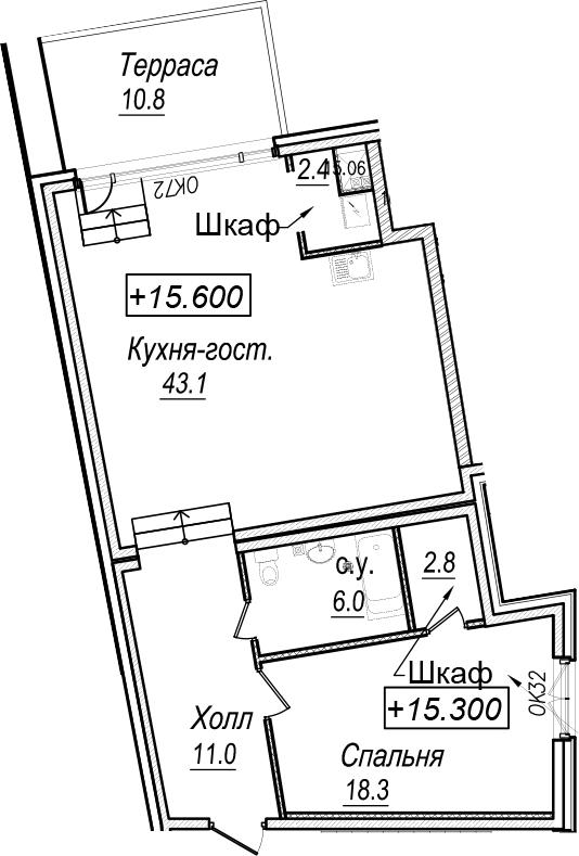2Е-комнатная, 86.8 м²– 2