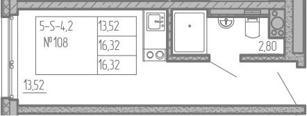 Студия, 16.32 м²
