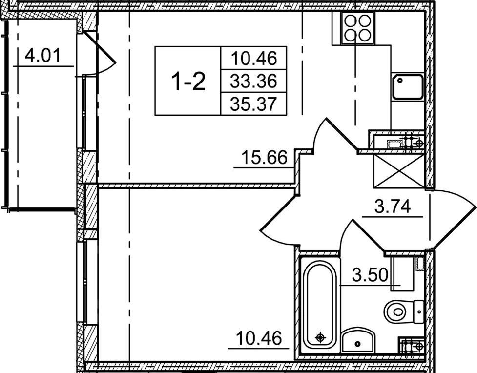 2-к.кв (евро), 37.37 м²