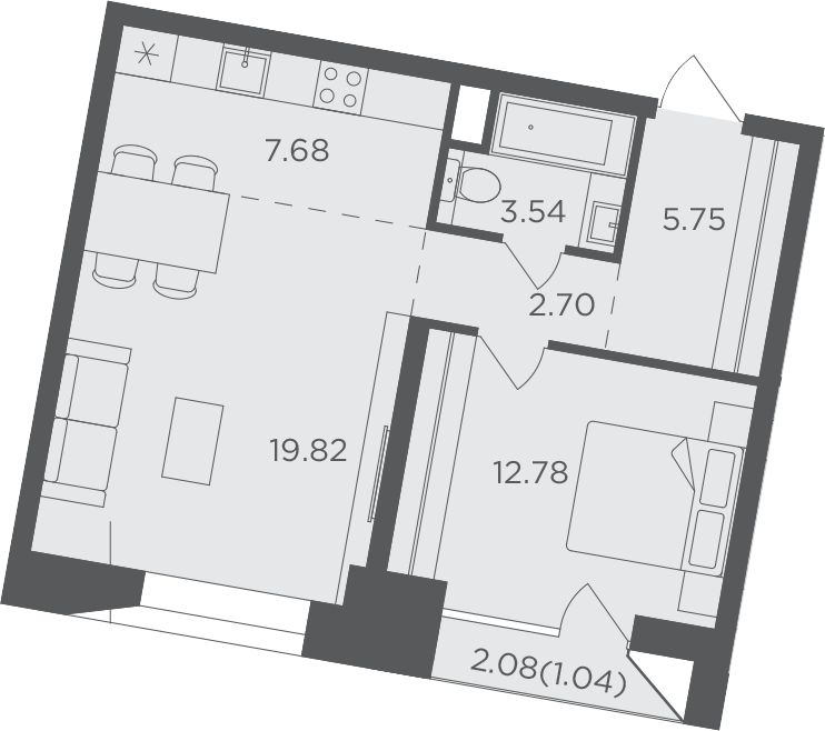 2Е-комнатная, 53.31 м²– 2