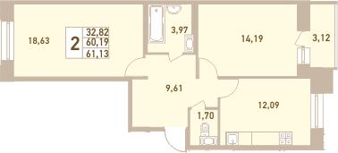 2-комнатная, 61.13 м²– 2