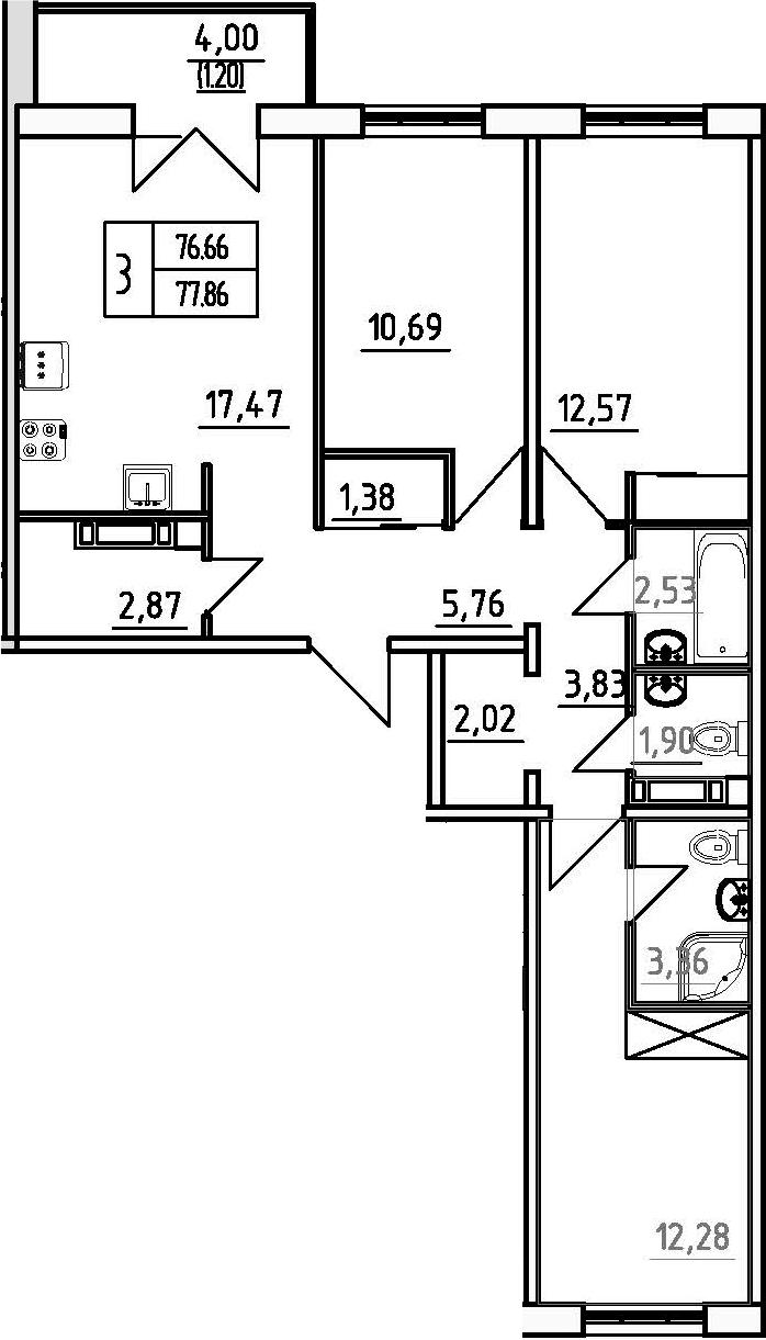 3-к.кв, 80.66 м²
