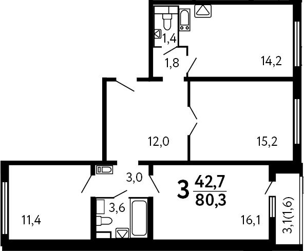 3-к.кв, 80.3 м²