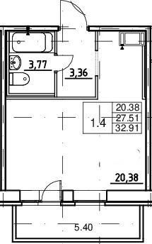 Студия, 27.51 м², 11 этаж