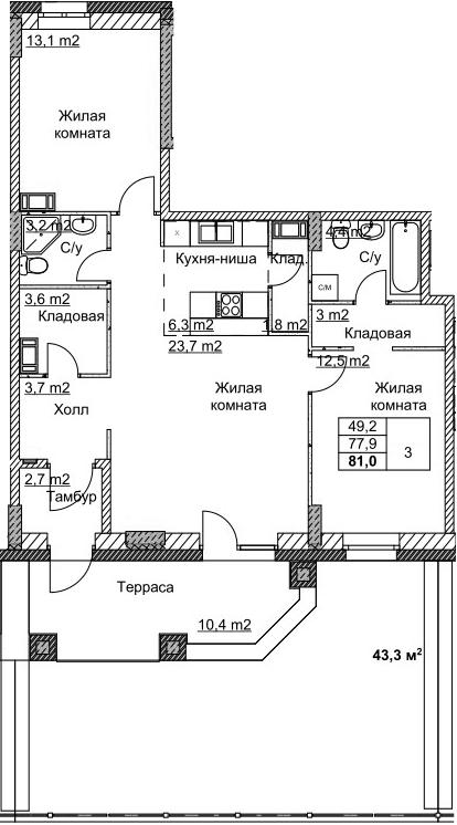 3Е-комнатная, 81.12 м²– 2