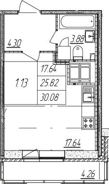 Студия, 25.82 м², от 16 этажа