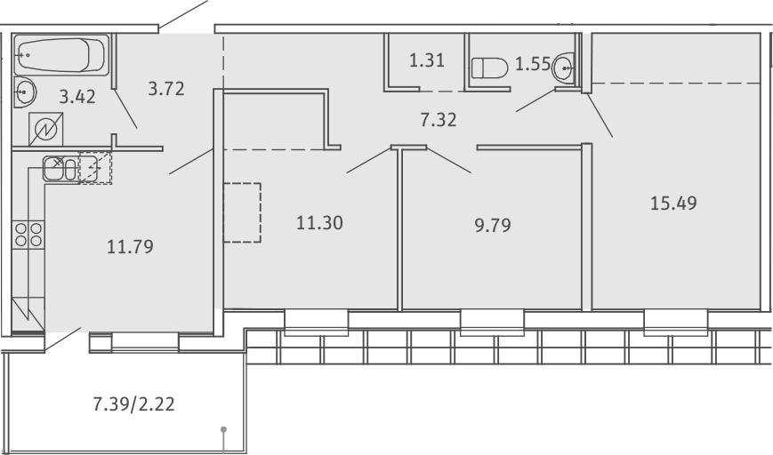 3-к.кв, 67.91 м²
