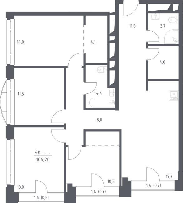 5Е-комнатная квартира, 106.2 м², 23 этаж – Планировка