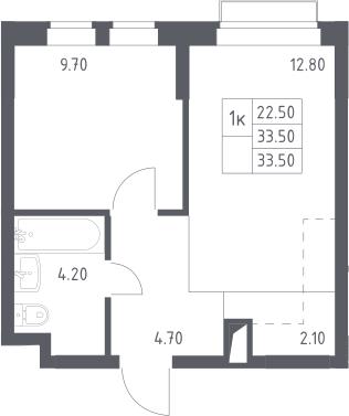 1-комнатная, 33.5 м²– 2