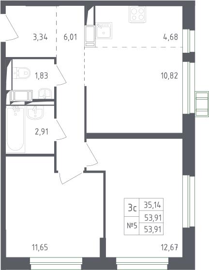 3Е-к.кв, 53.91 м², 12 этаж