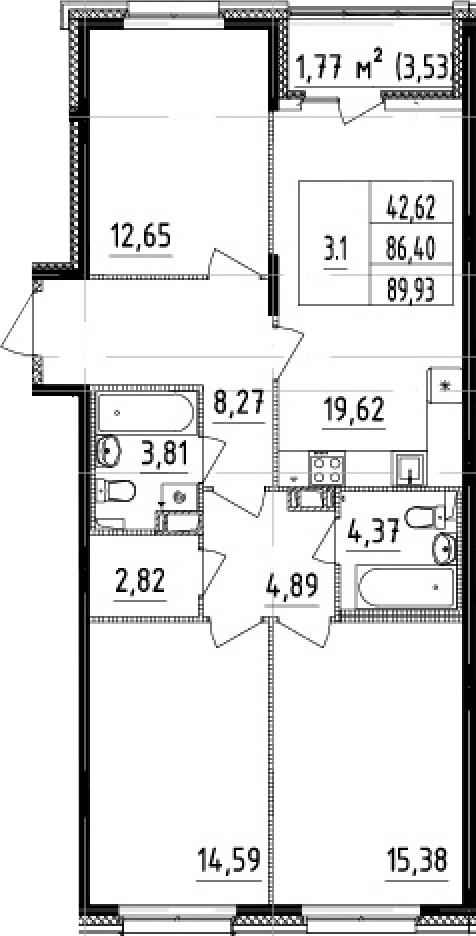 4-к.кв (евро), 89.93 м²
