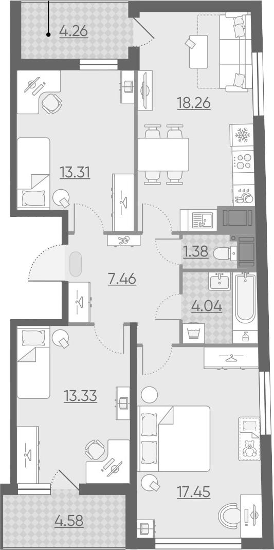 4Е-к.кв, 79.65 м², 15 этаж