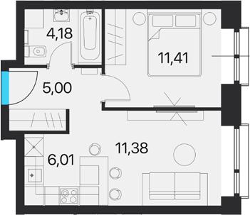 2Е-к.кв, 37.98 м², 14 этаж