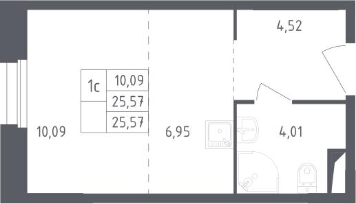 Студия, 25.57 м²– 2
