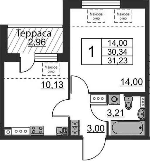 1-к.кв, 30.34 м², 5 этаж