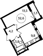 1-к.кв, 32.6 м²